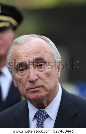 NEW YORK CITY - OCTOBER 13 2015: Mayor Bill de Blasio & NYPD commissioner William Bratton presided over the annual dedication ceremony at Battery Park NYPD memorial. Commissioner William Bratton
