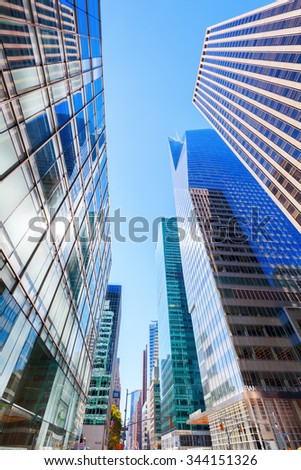 NEW YORK CITY - OCTOBER 13, 2015: skyscrapers in Manhattan, NYC. The metropolitan area NYC is one of the most important economy areas and commercial center of the world