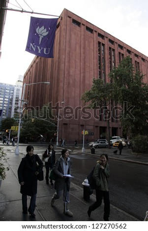 NEW YORK CITY - OCTOBER 31: The Bobst Library on the campus of New York University  (NYU) in New York City on Friday, October 31, 2008. - stock photo