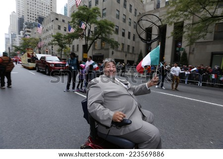 NEW YORK CITY - OCTOBER 13 2014: the 70th annual Columbus Day parade filled Fifth Avenue with thousands of marchers celebrating Italian-American pride.  - stock photo