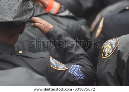 NEW YORK CITY - OCTOBER 28 2015: Thousands of police officers joined slain NYPD officer Randolph Holder's family & elected officials for funeral services at Greater Allen AME - stock photo