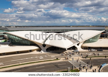 NEW YORK CITY - OCTOBER 18, 2015:  View of old space-aged style TWA Flight Center building at John F. Kennedy International Airport terminal 5 - stock photo