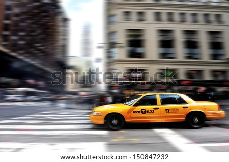 NEW YORK CITY - OCTOBER 11: Yellow Taxicab is seen in Manhattan on October 11, 2009, in New York City, USA. There are about 14,000 yellow cabs on the roads of New York City. - stock photo