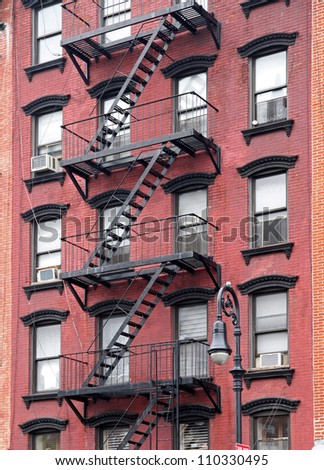 New York City, Old building with fire escape