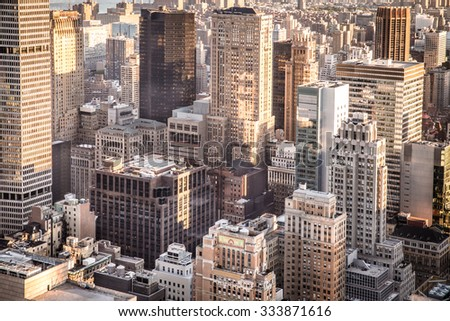 New York City overhead view of buildings across midtown Manhattan
