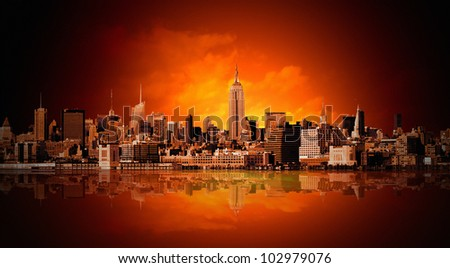 New York city panorama - stock photo