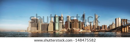New York City panorama early in the morning