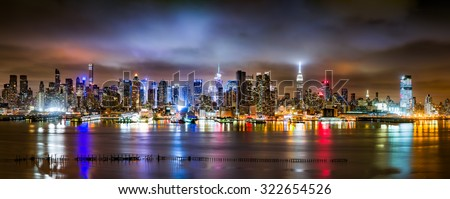 New York City Panorama on a cloudy night as viewed from New Jersey across the Hudson River (>90Mpx) - stock photo