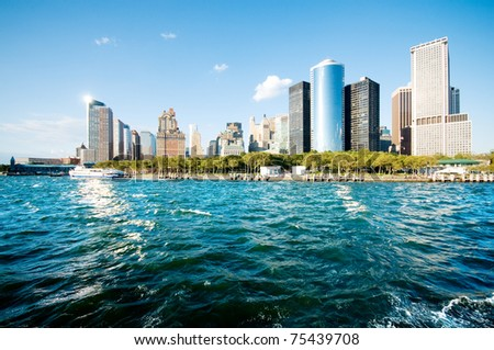 New York city panorama with tall skyscrapers - stock photo