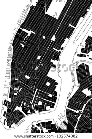 New York city plan abstracted by black and white street texture - stock photo