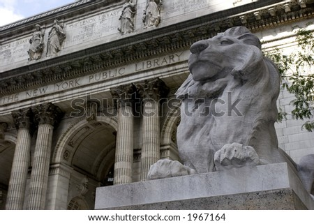 New York City Public Library Exterior with lion statue - stock photo
