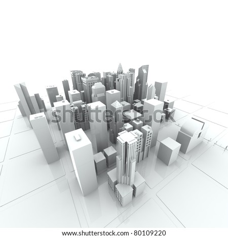 New York City (rendered, white, 3d) - stock photo