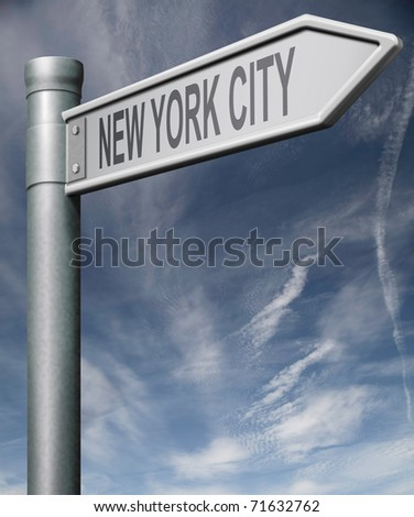 New York City road sign clipping path isolated arrow pointing towards American city concept travel tourism holiday vacation culture destination route highway in United States of America USA
