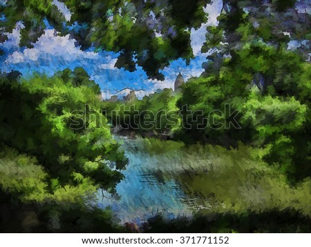 New York City's Central Park Lake in Spring transformed into a colorful painting - stock photo