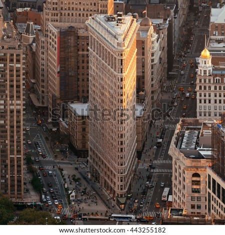 New York City - SEP 11: Flatiron Building closeup on September 11, 2015 in New York City. It is one of the most iconic skyscrapers and the symbol of New York City. - stock photo