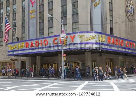 NEW YORK CITY - SEP 22: Radio City Music Hall at 50th Street and Avenue of the Americas was completed in December, 1932.  September 22, 2012  in Manhattan, New York City.  - stock photo