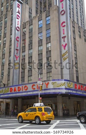 NEW YORK CITY - SEP 22: Radio City Music Hall is one of NYC popular tourist attractions, the Music Hall has been attended by more than 300 million people.September 22, 2012  in New York City.  - stock photo