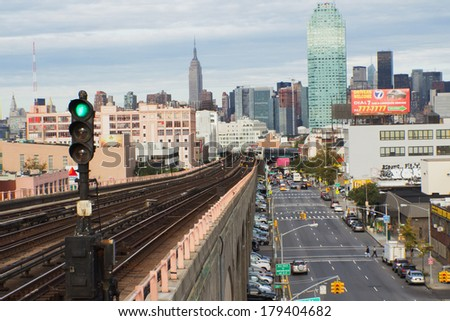 NEW YORK CITY - SEPT 19: Queens Boulevard is a major thoroughfare in the NYC borough of Queens connecting Midtown Manhattan, via the Queensboro Bridge, to Jamaica. September 19, 2012  in Manhattan. - stock photo