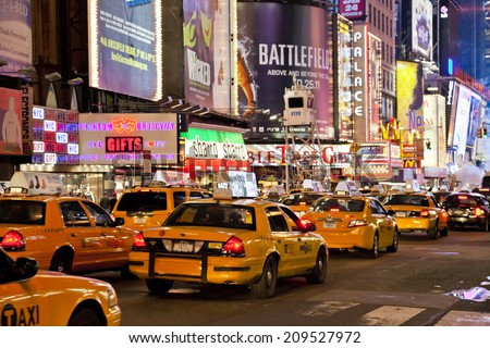 NEW YORK CITY - SEPT 28: Times Square, featured with Broadway Theaters, Taxi Cabs and animated LED signs, is a symbol of New York and the United States, September 28, 2011 in Manhattan, New York City - stock photo