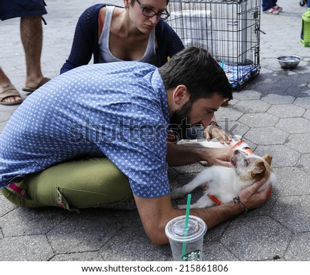 NEW YORK CITY - SEPTEMBER 7 2014: Adoptapalooza, sponsored by the NYC Mayor's Alliance for Animals, brought some two dozen rescue organizations to Union Square Park to showcase animals in need