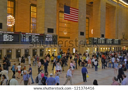 NEW YORK CITY - SEPTEMBER 14: Grand Central Station is the world's largest train station by number of platforms, pictured on September 14, 2012 in New York, NY. - stock photo