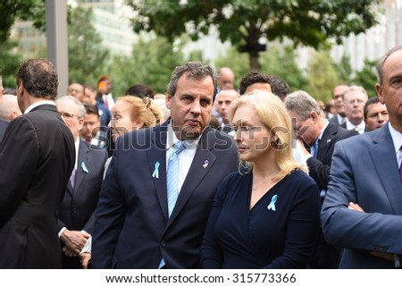 NEW YORK CITY - SEPTEMBER 11 2015: Memorial services were held at Ground Zero to mark the 14th anniversary of the World Trade Center attacks. New Jersey governor Chris Christie & Mary Pat Christie - stock photo