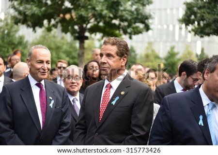 NEW YORK CITY - SEPTEMBER 11 2015: Memorial services were held at Ground Zero to mark the 14th anniversary of the World Trade Center attacks. Governor Andrew Cuomo & senator Charles Schumer