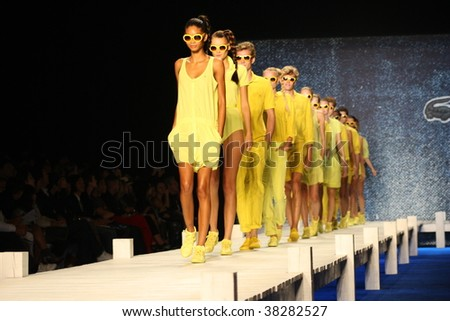 NEW YORK CITY - SEPTEMBER 12: Models present latest clothing from Lacoste at Mercedes Benz S/S fashion week September 12, 2009 in New York City. - stock photo