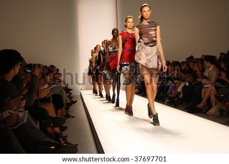 NEW YORK CITY - SEPTEMBER 10: Models present latest clothing from Michael Angel line at Mercedes Benz S/S fashion week September 10, 2009 in New York City. - stock photo