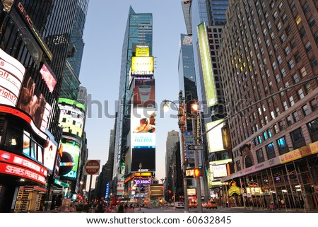 NEW YORK CITY - SEPTEMBER 5: Office buildings and LED billboards are the trademark of Times Square September 5, 2010 in Times Square New York, New York. - stock photo
