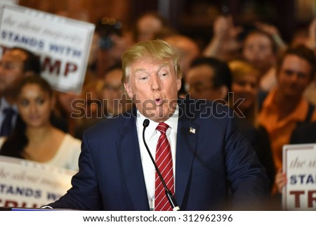 NEW YORK CITY - SEPTEMBER 3 2015: Republican candidate for president Donald Trump announced he had signed a pledge not to run as an independent candidate should he fail to win the 2016 nomination. - stock photo