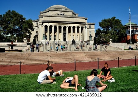 New York City - September 2, 2009:  Students lounging on the lawn in front of the Library of Columbia University