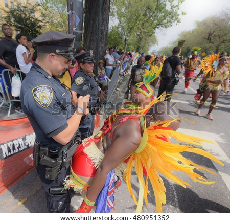NEW YORK CITY - SEPTEMBER 5 2016: the annual West Indian Day Parade along Eastern Parkway is one of the largest public events in North America