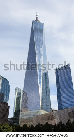 NEW YORK CITY, SEPTEMBER 21:  The One World Trade Center in Lower Manhattan, New York City is pictured on September 21st, 2015.  The building was completed in 2013 and opened in 2014. - stock photo