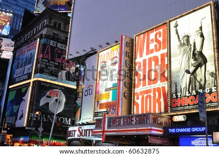 NEW YORK CITY - SEPTEMBER 5: Theater billboards are the trademark of of Times Square September 5, 2010 in Times Square New York, New York. - stock photo