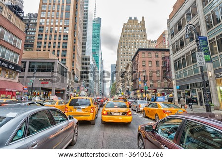 NEW YORK CITY - SEPTEMBER 12, 2015: Traffic jam in Manhattan. Traffic is a big issue in the city.