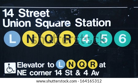 NEW YORK CITY - SEPTEMBER 1  Union Square Subway Station entrance at 14th Street in NYC on September 1, 2013   Owned by the NYC Transit Authority, the subway system has 469 stations in operation - stock photo