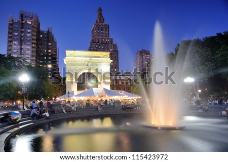 NEW YORK CITY - SEPTEMBER 12: Washington Square Park September 12, 2012 in New York, NY. The park is known for Washington Arch which was built to commemorate the centennial of George Washington. - stock photo
