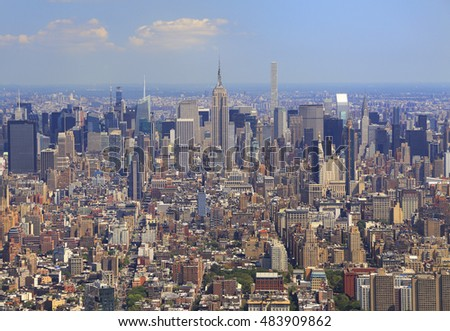 New York City skyline, aerial view