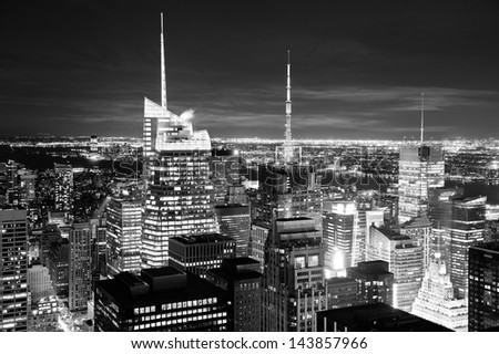 New York City skyline aerial view at dusk with skyscrapers of midtown Manhattan in black and white. - stock photo
