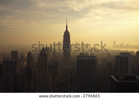 New York City Skyline as sunset
