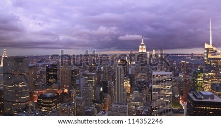 New York City skyline at dusk, panoramic view