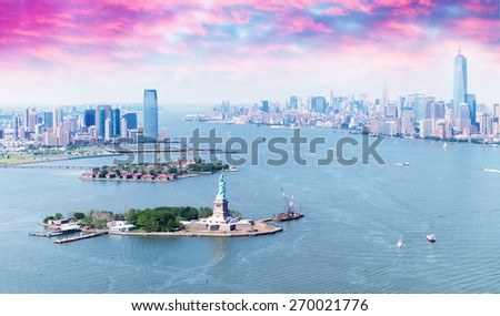 New York City skyline at dusk, USA. - stock photo
