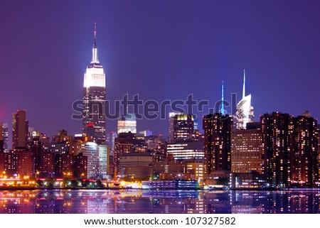 New York City skyline at night - stock photo