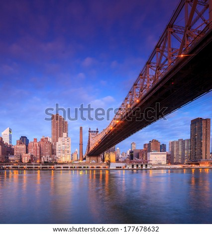 New york city skyline at Queen Bridge