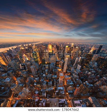 New York City skyline at sunset /NewYork - stock photo