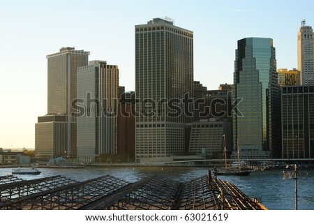 New York City Skyline at the Financial District.