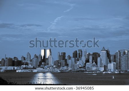 new york city skyline in blue and black tones