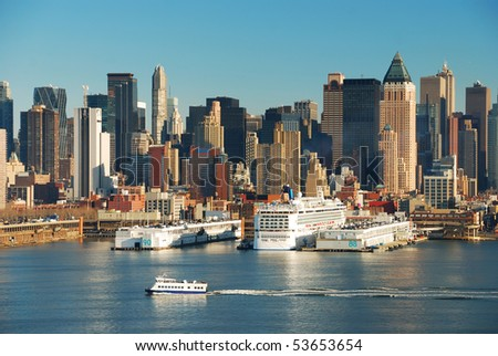 New York City Skyline over Hudson river with boats and skyscrapers. - stock photo