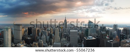 New York City skyline panorama. Manhattan aerial view. - stock photo